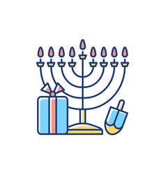 nine-branched menorah rgb color icon vector image