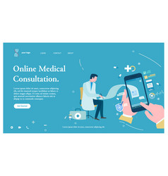 online medical consultation smartphone call web vector image