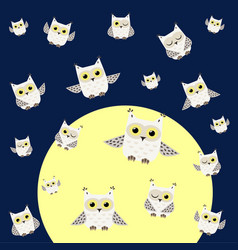 pattern of white polar owls vector image