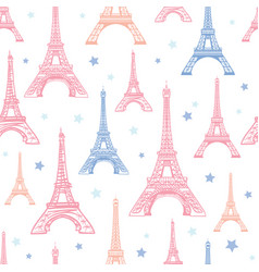 Pink blue eifel tower paris and flowers vector