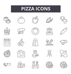 pizza line icons signs set outline vector image