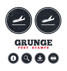Plane landing icon airplane transport symbol vector