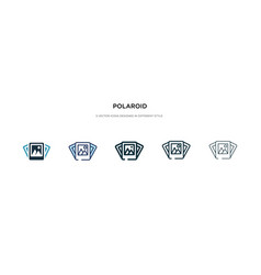 Polaroid icon in different style two colored and vector