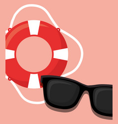 pool float and sunglasses icon vector image