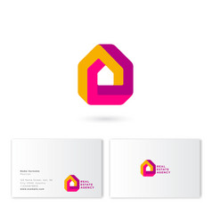 Real estate house logo impossible construction pro vector