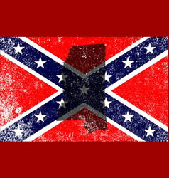 Rebel civil war flag with mississippi map vector
