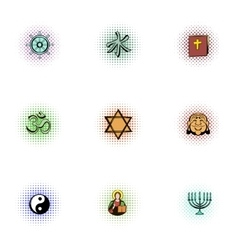 Religion icons set pop-art style vector
