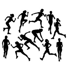 running girl silhouettes vector image