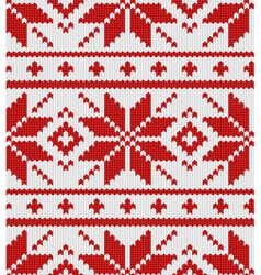 scandinavian red knitted pattern vector image