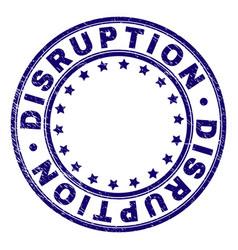 Scratched textured disruption round stamp seal vector