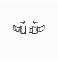 Seat belt sketch icon vector