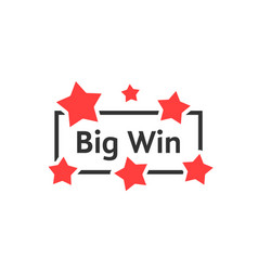 Simple big win badge with red stars vector