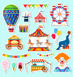 stickers of circus and amusement elements vector image