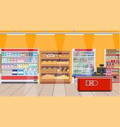 Supermarket interior shelves with products vector