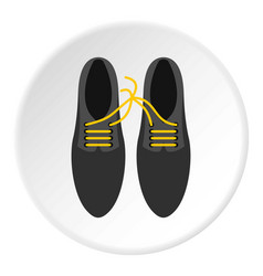 Tied laces on shoes icon circle vector