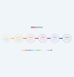 timeline infographic design 6 steps vector image