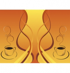 two cups of hot coffee vector image