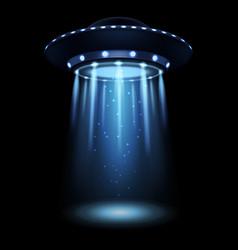 Ufo realistic alien spaceship with light beam vector