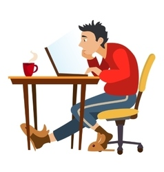 Unemployed man surfing the internet in search vector