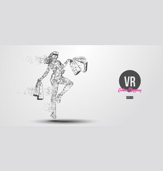 Vr online shopping polygonal woman girl wearing vector