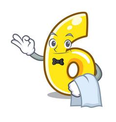 Waiter number six door sign on cartoon vector
