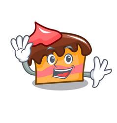 Waving sponge cake character cartoon vector
