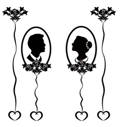 wedding silhouette flourishes 7 vector image