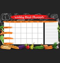 Weekly meal planner timetable week food plan vector