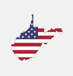 west virginia map on american flag vector image