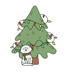 white cat and tree lights celebration merry vector image