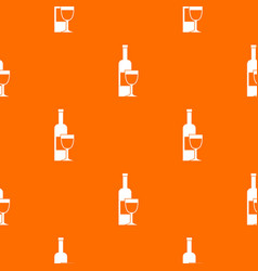 wine bottle and glass pattern seamless vector image