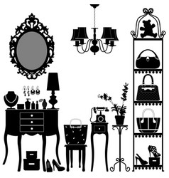 Woman cosmetic accessories room furniture vector