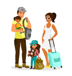 young happy family with vector image