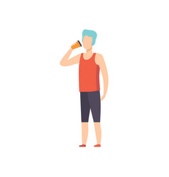 Young man drinkig coffee guy holding paper take vector