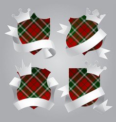 badge set with tartan background white paper vector image vector image