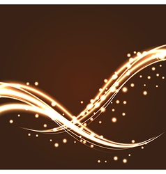 Bokeh light glitter wave lines with flying vector image vector image