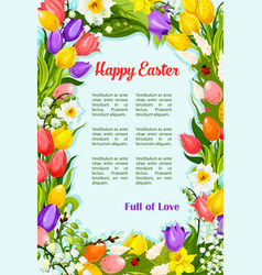 easter flowers bunch wreath greeting poster vector image