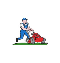 Gardener Mowing Lawn Mower Cartoon vector image