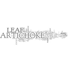 artichoke leaf text word cloud concept vector image vector image