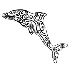dolphin decorative ornament animal sketch vector image vector image
