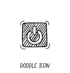 Doodle on off switch button stop close pictogram vector