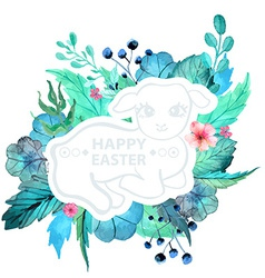Easter watercolor natural with lamb sticker vector image vector image