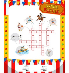 Word game puzzle design with sport theme vector image
