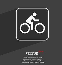 Cyclist symbol Flat modern web design with long vector image