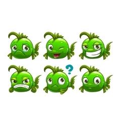 Funny cartoon green fish vector image vector image