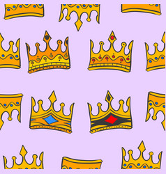 gold crown glamour pattern art vector image vector image