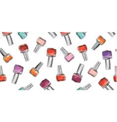 nail polish bottle seamless pattern beauty salon vector image vector image