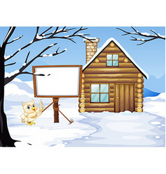 Owl and hut in the snow vector image vector image