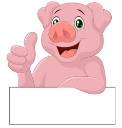 Pig giving thumb up vector image vector image