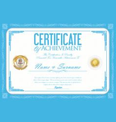 certificate or diploma retro design template 7 vector image